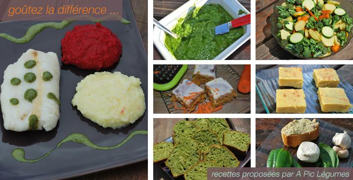 Goutez la difference, nos recettes avec légumes bio.